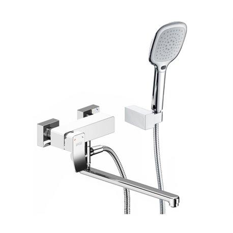 Смеситель Wasser KRAFT Aller 1062L White для ванны с длинным изливом, цвет хром/белый