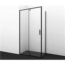 Душевой уголок квадратный WasserKRAFT Elbe 74P03 90x90x200 см, распашная дверь, черный профиль