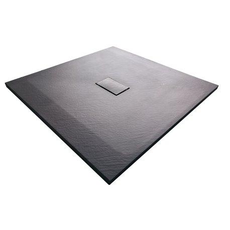 Душевой поддон WasserKRAFT Elbe 74T19, квадратный 100x100x2,6 см, черный