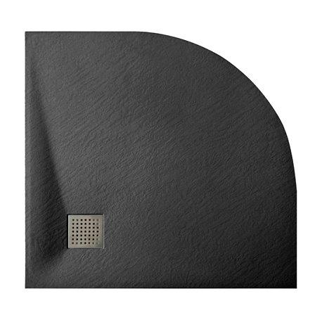 Душевой поддон WasserKRAFT Elbe 74T01, полукруглый 90x90x2,6 см, черный