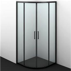 Душевой уголок полукруглый WasserKRAFT Dill 61S01 90x90x200 см, раздвижная дверь, черный профиль