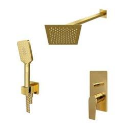 Встраиваемый комплект для душа WasserKraft Aisch А55201 с верхним душем и ручной лейкой, матовое золото
