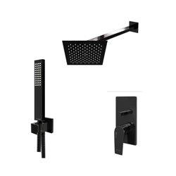 Встраиваемый комплект для душа WasserKraft Glan А66209 с верхним душем и ручной лейкой, черный глянец