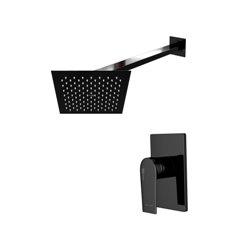 Встраиваемый комплект для душа WasserKraft Glan А66181 с квадратным верхним душем, черный глянец