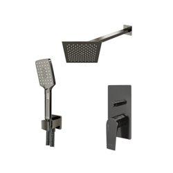 Встраиваемый комплект для душа WasserKraft Wiese А84202 с верхним душем и ручной лейкой, оружейная сталь